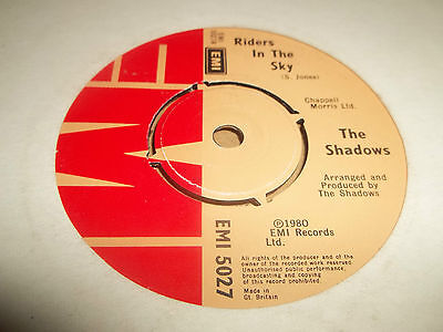 The Shadows   Riders In The Sky   7  Single Excellent 1980 • 2.99£