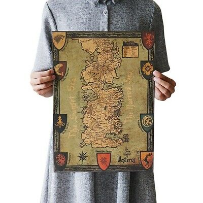 £9.88 • Buy  Game Of Thrones Retro World Map Poster Master Bedroom Designs