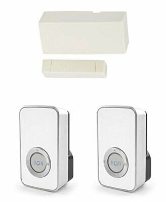 £34.99 • Buy Wireless Door Entry Sensor Contact Wth 2 White 32 Melody Chime / Bell Shop Alert