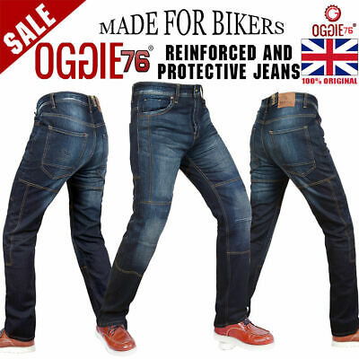 Men's Motorbike Motorcycle Jeans Reinforced Denim With Protective Lining Trouser • 39.99£