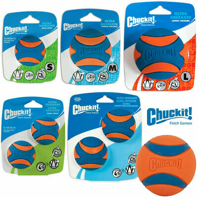 Chuckit ULTRA Squeaker Rubber Balls Dog Puppy Squeaky Bouncy Ball Fun Fetch Toys • 8.95£