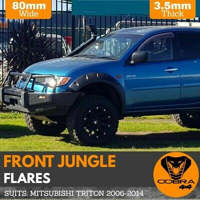 AU299 • Buy Mitsubishi Triton Front Jungle Fender Flares 2006 - 2014 Mn Ml Guard Black Abs