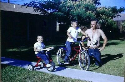 $ CDN5 • Buy 35mm Slide 1966 Young Boys Tricycle Bike Shirtless Man Dad People Family Street