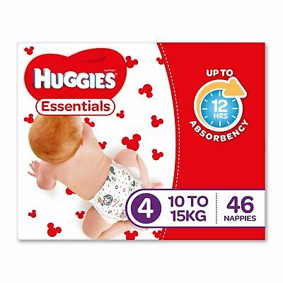 AU18.80 • Buy Huggies Essentials Nappies Size 4 Toddler (10-15kg) 46 Count