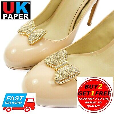 £6.29 • Buy New Decorative Bow Shoe Clips Silver Gold Pearl Diamante Buckles Clip Ons Bridal