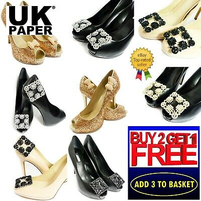 £5.39 • Buy New Diamante Rhinestone Crystal Decorative Pearl Gold Buckle Shoe Clips Bow Pair