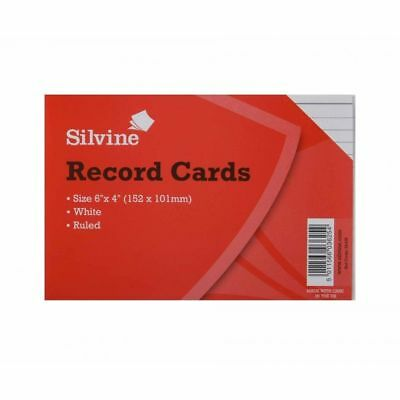 £2.45 • Buy Silvine White Record Index Cards Ruled 152x101mm (6 X4 ) Pack Of 100 White