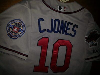 66607df3c GREY Brand New Atlanta Braves  10 Chipper Jones Majestic WS All Sewn Jersey  MEN •