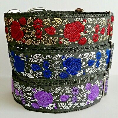 Martingale Dog Collar Roses Flowers 1.5  Wide Lurcher Greyhound Whippet Saluki • 13.75£