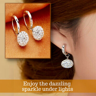 925 Sterling Silver Plated Classic Disco Ball Diamond Crystal Drop Earrings  • 3.99£