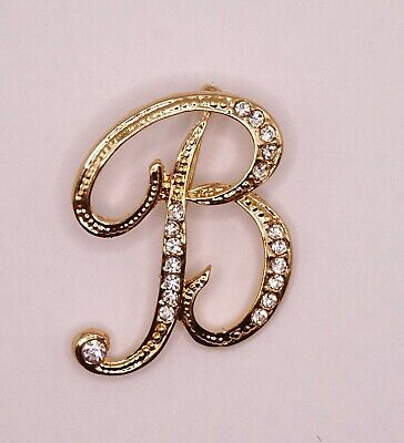 £4.30 • Buy Diamante Gold Initial Letter B Fashion Brooch Pin Brand New FREE P&P