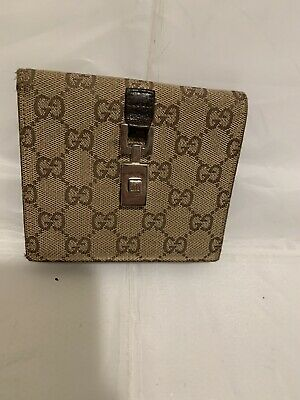 $145 • Buy Gucci Vintage Wallet Brown Canvas &leather Clasp Bi-fold