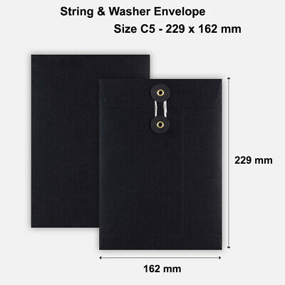 C5 Size Quality String And Washer Envelopes Button-Tie Black Mailer Cheap • 5.99£
