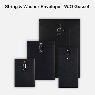 DL C5 C6 Quality String&Washer Without Gusset Envelope Button Tie Black Color • 246.61£