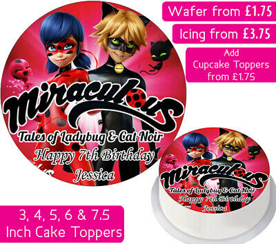 Miraculous Ladybug Edible Wafer & Icing Personalised Cake Toppers Decoration • 3.75£