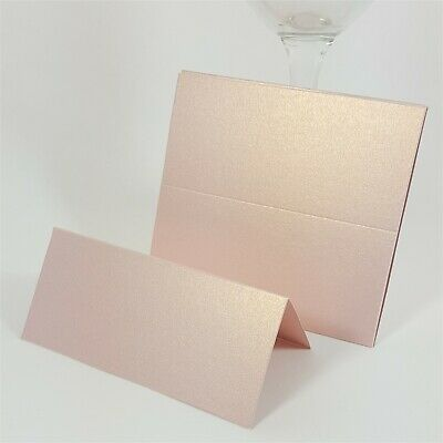 £4 • Buy 10 X Rose Gold Place Cards - Blush Gold Dust - Blank Wedding Place Name Setting
