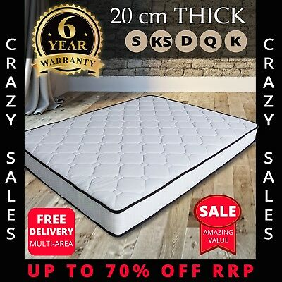 AU149 • Buy Mattress Queen Double King Single Size Pocket Spring 20cm Medium Feel