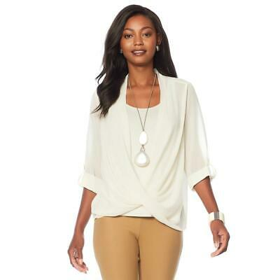 $39.99 • Buy Wynne Layers Surplice Front Blouse Canvas Size M Item #608535 HSN
