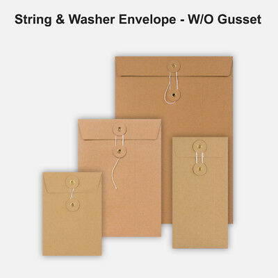 All Size Brown String&Washer Without Gusset Envelopes Button&Tie Manilla Cheap • 26.39£