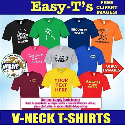Custom Printed V Neck T Shirt Personalised T Shirt Customized T Shirt Stag Hen  • 7.10£
