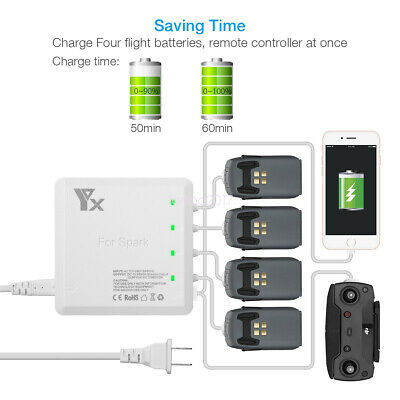 AU68.99 • Buy Spark 6 In 1 Battery Charger Charging Hub For DJI Drone Battery & Controller