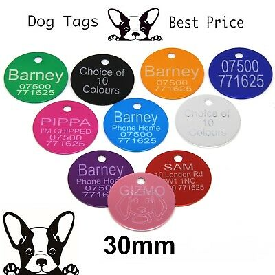 Engraved Pet Tags Aluminium DOG CAT Round 30mm 10 Colours Engraving Identity • 3.50£