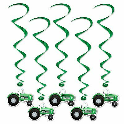 AU9.75 • Buy Tractor Whirls 5 Hanging Decorations Swirl Danglers Farm Party Supplies
