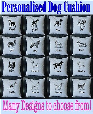 £9.99 • Buy PERSONALISED Dog Name Vintage Cushion Cover Printed 18 X18  Gift Pet