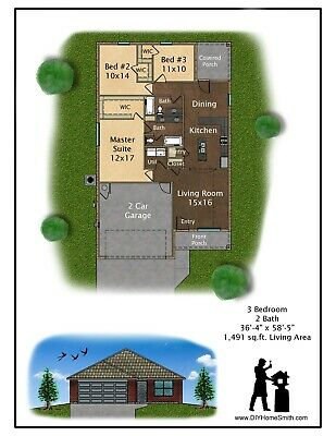 CAD DWG, And PDF Files For Custom Home House Plan 1,491 SF Blueprint Plans • 35.77£