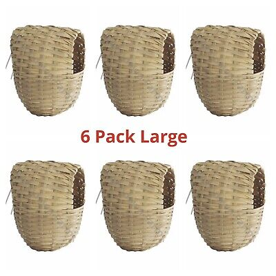 £12.95 • Buy 6 X LARGE Sisal Wicker Finch Nest Box With Hooks To Back For Cage Finches 15x11