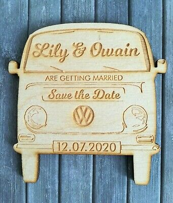 £55.33 • Buy Classic Campervan Bay Window Style Wooden Wedding / CP Save The Date Magnets