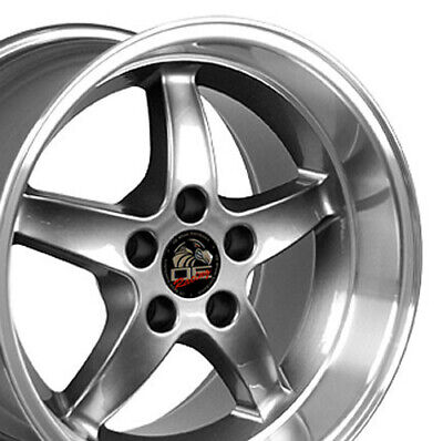 $142 • Buy 17  Rim Fits Ford Mustang Cobra R DD Gunmetal Mach'd Lip 17x10.5 Wheel REAR