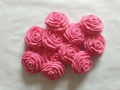 £3.95 • Buy 12 ROSES 18mm - EDIBLE SUGAR WEDDING CAKE DECORATIONS / TOPPERS