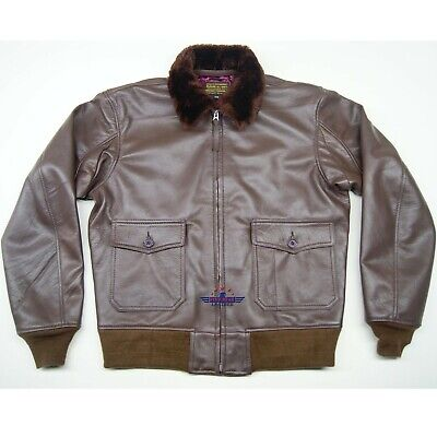 $200 • Buy WWII Repro M422a Naval G1 Goat Leather Flight Jacket Russet Brown Olive Knits