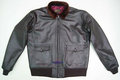 $230 • Buy Vintage WWII Repro M422 AIRFORCE G1 Goat Thick Leather Flight Jacket Seal Brown