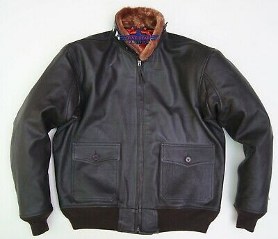 $180 • Buy Vintage WWII Repro M422 AIRFORCE G1 Goat Thick Leather Flight Jacket Seal Brown