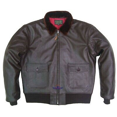 $220 • Buy Vintage WWII Repro 55J14 AIRFORCE G1 Goat Thick Leather Flight Jacket SealBrown