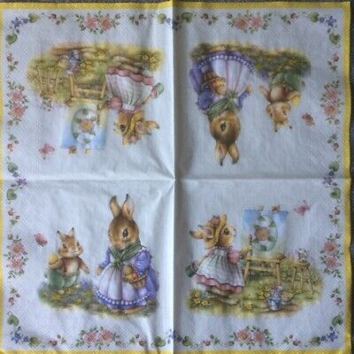 4 X Single Paper Table Napkin/33cm/3-Ply/Decoupage/Spring/Easter Time  • 1.25£