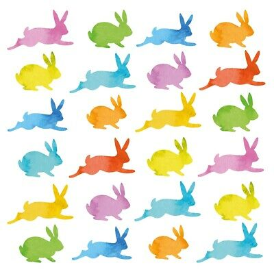 4 X Single Paper Napkins/3 Ply/Decoupage/Craft/Easter/Aquarell Bunnies • 1.25£