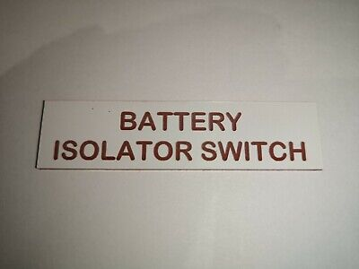 £3.99 • Buy Boat Safety Label Plaque Sticker Battery Isolator Switch 75 X 19mm White/Red