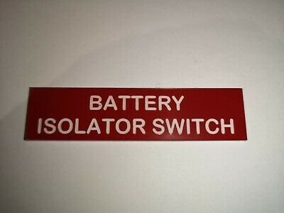 Boat Safety Label Plaque Sticker Battery Isolator Switch 75 X 19mm Red/White • 3.99£