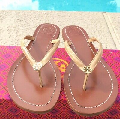 bf2fe5625b36 Tory Burch TERRA THONG Sun Beige Logo Flip Flop Leather Sandals Size 9.5  NIB • 93.00