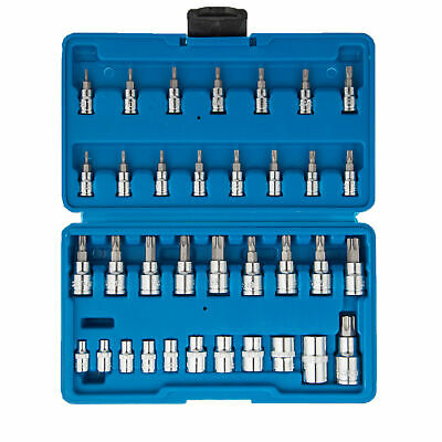 $23.49 • Buy 1/4 3/8 1/2 External Socket Torx Bit 35pc E Tamper Proof Security Star Female