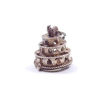 Vintage Silver Chim Charm Wedding Cake Opens To Lucky Horseshoe 925 Sterling 4g • 20£