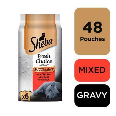 48 X 50g Sheba Fresh Choice Adult Wet Cat Food Pouches Mixed Succulent In Gravy • 13.49£