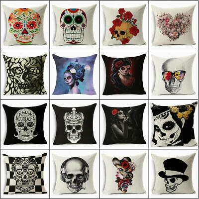 Skull Cotton Linen Fashion Sofa Throw Pillow Case Cushion Cover Home Decor 18x18 • 2.77£