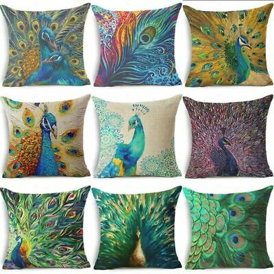 18  Cotton Linen Peacock Feather Throw Pillow Case Sofa Cushion Cover Home Decor • 2.77£