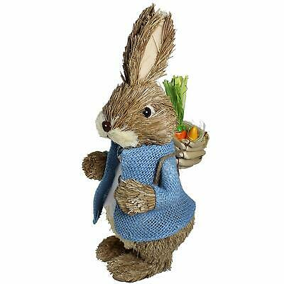 £14.99 • Buy Wicker Bunny Rabbit Boy With Backpack Home Kids Easter Egg Hunt Decoration
