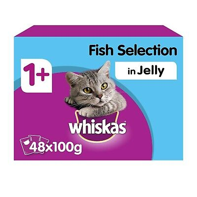 £15.49 • Buy 48 X 100g Whiskas 1+ Adult Wet Cat Food Pouches Mixed Fish In Jelly