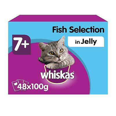 £15.49 • Buy 48 X 100g Whiskas 7+ Senior Wet Cat Food Pouches Mixed Fish In Jelly